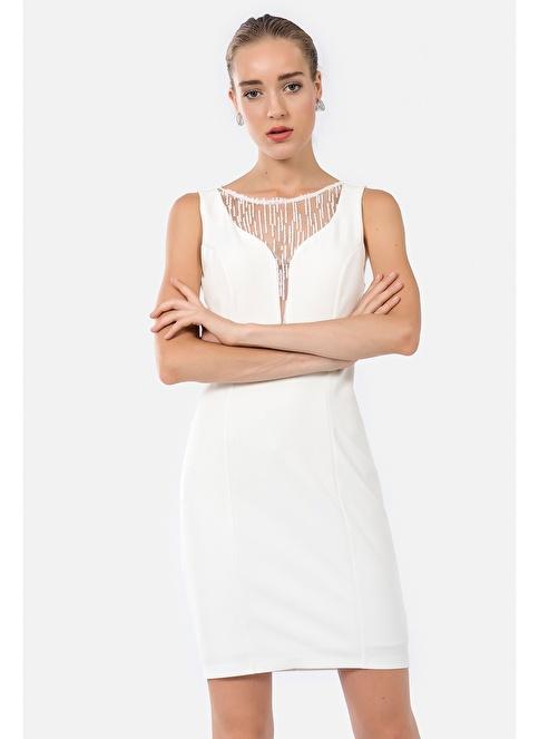 İroni Sim Tüllü Abiye Elbise Beyaz